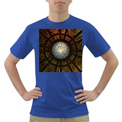 Black And Borwn Stained Glass Dome Roof Dark T Shirt by Nexatart