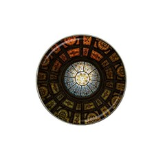 Black And Borwn Stained Glass Dome Roof Hat Clip Ball Marker by Nexatart
