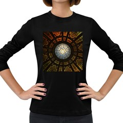 Black And Borwn Stained Glass Dome Roof Women s Long Sleeve Dark T Shirts by Nexatart