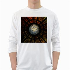 Black And Borwn Stained Glass Dome Roof White Long Sleeve T Shirts by Nexatart