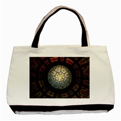 Black And Borwn Stained Glass Dome Roof Basic Tote Bag by Nexatart