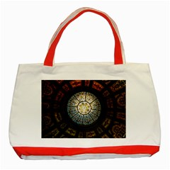 Black And Borwn Stained Glass Dome Roof Classic Tote Bag (red) by Nexatart
