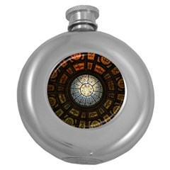 Black And Borwn Stained Glass Dome Roof Round Hip Flask (5 Oz) by Nexatart
