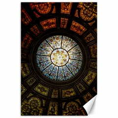 Black And Borwn Stained Glass Dome Roof Canvas 24  X 36  by Nexatart