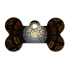 Black And Borwn Stained Glass Dome Roof Dog Tag Bone (two Sides) by Nexatart