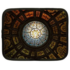 Black And Borwn Stained Glass Dome Roof Netbook Case (large) by Nexatart