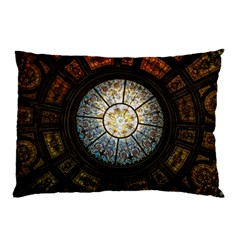 Black And Borwn Stained Glass Dome Roof Pillow Case by Nexatart