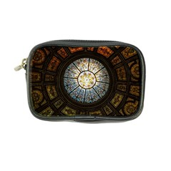 Black And Borwn Stained Glass Dome Roof Coin Purse by Nexatart