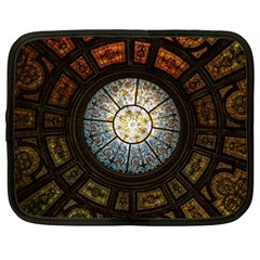 Black And Borwn Stained Glass Dome Roof Netbook Case (xxl)  by Nexatart
