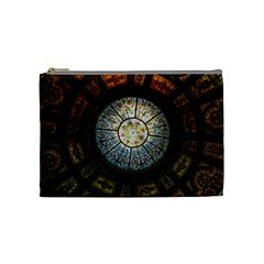 Black And Borwn Stained Glass Dome Roof Cosmetic Bag (medium)  by Nexatart