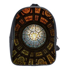 Black And Borwn Stained Glass Dome Roof School Bags(large)  by Nexatart