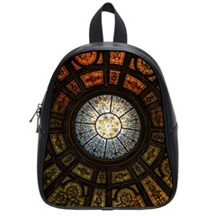 Black And Borwn Stained Glass Dome Roof School Bags (small)  by Nexatart