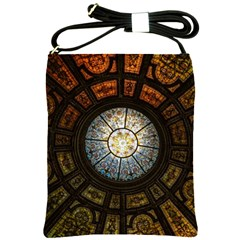 Black And Borwn Stained Glass Dome Roof Shoulder Sling Bags by Nexatart