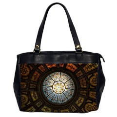 Black And Borwn Stained Glass Dome Roof Office Handbags (2 Sides)  by Nexatart