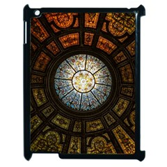 Black And Borwn Stained Glass Dome Roof Apple Ipad 2 Case (black) by Nexatart
