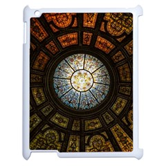 Black And Borwn Stained Glass Dome Roof Apple Ipad 2 Case (white) by Nexatart
