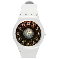 Black And Borwn Stained Glass Dome Roof Round Plastic Sport Watch (m) by Nexatart