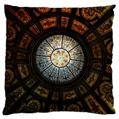 Black And Borwn Stained Glass Dome Roof Large Cushion Case (two Sides) by Nexatart