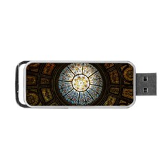 Black And Borwn Stained Glass Dome Roof Portable Usb Flash (one Side)