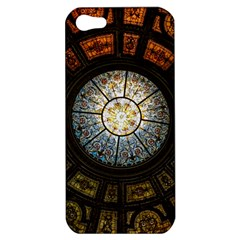 Black And Borwn Stained Glass Dome Roof Apple Iphone 5 Hardshell Case by Nexatart