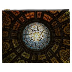 Black And Borwn Stained Glass Dome Roof Cosmetic Bag (xxxl)  by Nexatart