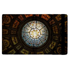 Black And Borwn Stained Glass Dome Roof Apple Ipad 2 Flip Case by Nexatart
