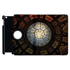 Black And Borwn Stained Glass Dome Roof Apple Ipad 2 Flip 360 Case by Nexatart