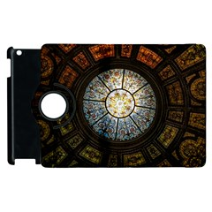 Black And Borwn Stained Glass Dome Roof Apple Ipad 3/4 Flip 360 Case by Nexatart