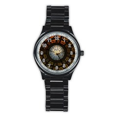Black And Borwn Stained Glass Dome Roof Stainless Steel Round Watch