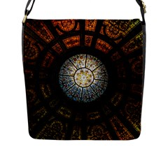 Black And Borwn Stained Glass Dome Roof Flap Messenger Bag (l)  by Nexatart