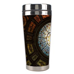 Black And Borwn Stained Glass Dome Roof Stainless Steel Travel Tumblers by Nexatart