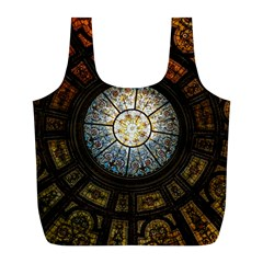 Black And Borwn Stained Glass Dome Roof Full Print Recycle Bags (l)  by Nexatart