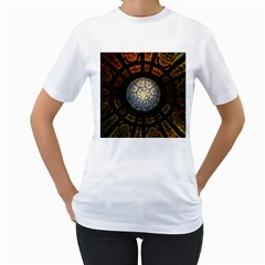 Black And Borwn Stained Glass Dome Roof Women s T Shirt (white)  by Nexatart
