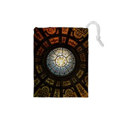 Black And Borwn Stained Glass Dome Roof Drawstring Pouches (small)  by Nexatart