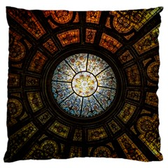 Black And Borwn Stained Glass Dome Roof Large Flano Cushion Case (two Sides) by Nexatart