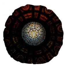 Black And Borwn Stained Glass Dome Roof Large 18  Premium Flano Round Cushions by Nexatart