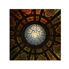 Black And Borwn Stained Glass Dome Roof Small Satin Scarf (square) by Nexatart