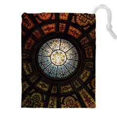 Black And Borwn Stained Glass Dome Roof Drawstring Pouches (xxl) by Nexatart