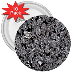 Black And White Art Pattern Historical 3  Buttons (10 Pack)
