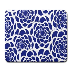 Blue And White Flower Background Large Mousepads