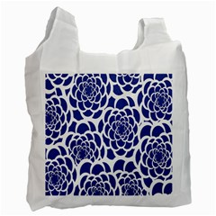 Blue And White Flower Background Recycle Bag (one Side)