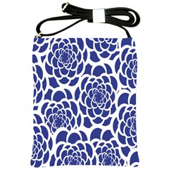 Blue And White Flower Background Shoulder Sling Bags