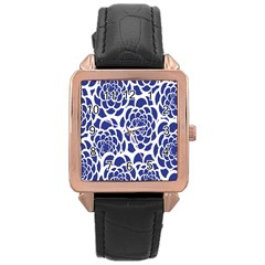 Blue And White Flower Background Rose Gold Leather Watch  by Nexatart