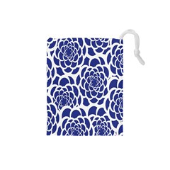 Blue And White Flower Background Drawstring Pouches (small)  by Nexatart
