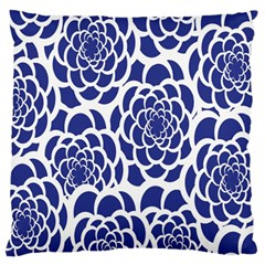 Blue And White Flower Background Large Flano Cushion Case (two Sides) by Nexatart