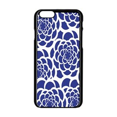 Blue And White Flower Background Apple Iphone 6/6s Black Enamel Case by Nexatart