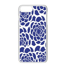 Blue And White Flower Background Apple Iphone 7 Plus White Seamless Case by Nexatart