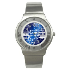 Board Circuits Trace Control Center Stainless Steel Watch by Nexatart