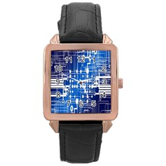 Board Circuits Trace Control Center Rose Gold Leather Watch  by Nexatart