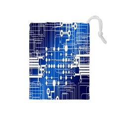 Board Circuits Trace Control Center Drawstring Pouches (medium)  by Nexatart